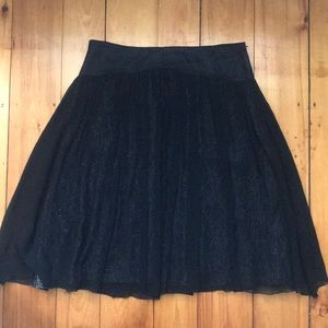 Identity Silk Pleated Black and Silver Skirt